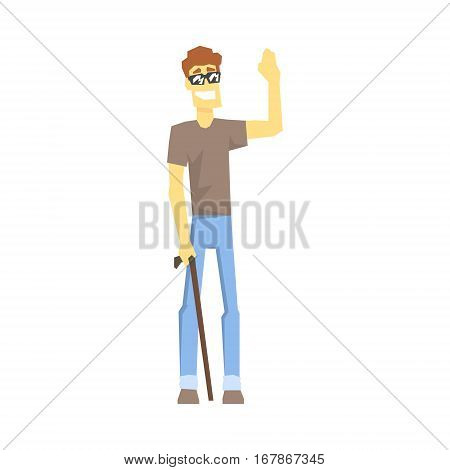 Blind Guy With Walking Stick, Young Person With Disability Overcoming The Injury Living Full Live Vector Illustration. Handicapped Person Happy Cartoon Character.