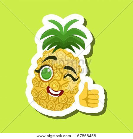 Pineapple Showing Thumbs Up, Cute Emoji Sticker On Green Background. Humanized Tropical Fruit Character Isolated Icon In Colorful Cartoon Design.