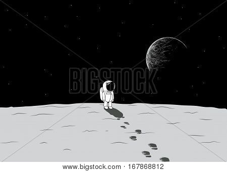 Cartoon spaceman explore a moon.Childish hand drawn vector illustration.