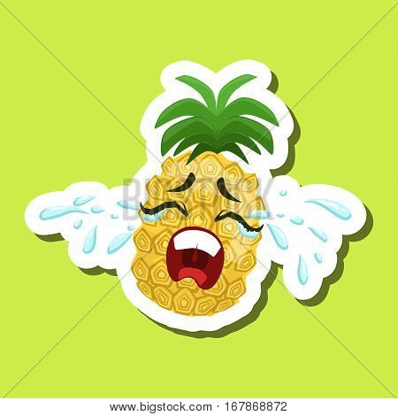 Pineapple Crying Out Loud, Cute Emoji Sticker On Green Background. Humanized Tropical Fruit Character Isolated Icon In Colorful Cartoon Design.