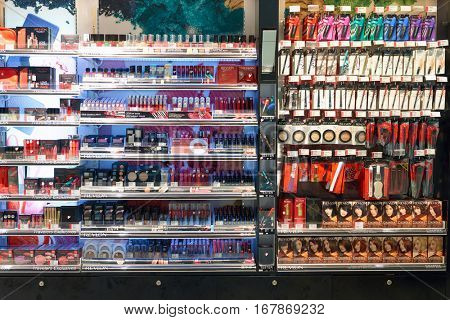 DUBAI, UAE - CIRCA NOVEMBER, 2016: cosmetics at Dubai International Airport. It is the primary airport serving Dubai and is the world's busiest airport by international passenger traffic.