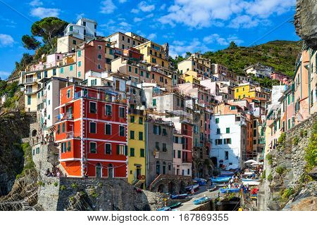 Riomaggiore one of five villages in Cinque Terre National Park and is a UNESCO World Heritage Site on Italian Riviera
