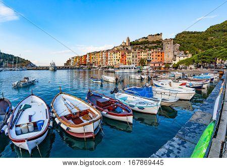 Fishing boats in harbor of Portovenere on Ligurian Coast in Italy