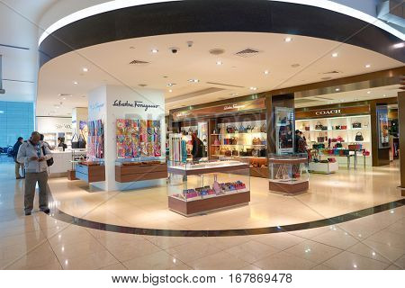 DUBAI, UAE - CIRCA NOVEMBER, 2016: a store at Dubai International Airport. It is the primary airport serving Dubai and is the world's busiest airport by international passenger traffic.