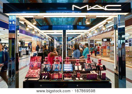 DUBAI, UAE - CIRCA NOVEMBER, 2016: MAC cosmetics at Dubai International Airport. It is the primary airport serving Dubai and is the world's busiest airport by international passenger traffic.