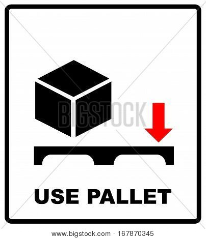 Use pallet sign. Mass vector packaging symbol on vector cardboard background. Handling mark on craft paper background. Can be used on a box or packaging.