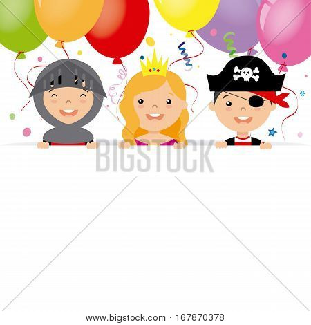 costume party card. Pirate, warrior and princess with poster.