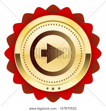 click forward seal or icon with arrow symbol. Glossy golden seal or button.