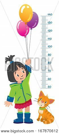Meter wall or height chart of girl in green coat and rubber boots with balloons and funny cat beside him. Children vector illustration with a Height scale from 50 to 140 centimeters to measure growth