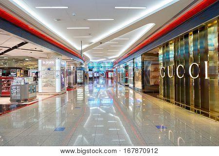 DUBAI, UAE - CIRCA NOVEMBER, 2016: Gucci at Dubai International Airport. Gucci is an Italian luxury brand