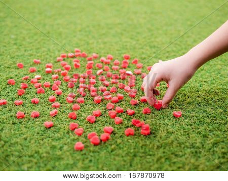 One Small Hand Pick Try To Pick The Heart Shape Made From Candle On Artificial Grass, Selective Focu