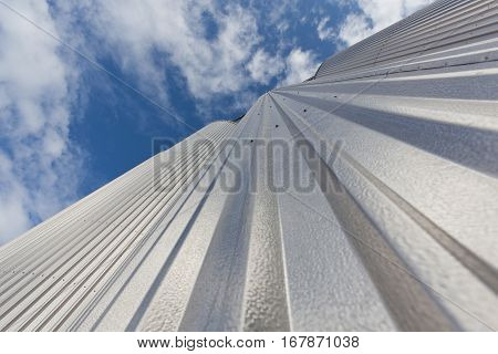 the Elevator is made of galvanized steel against the sky from the bottom up