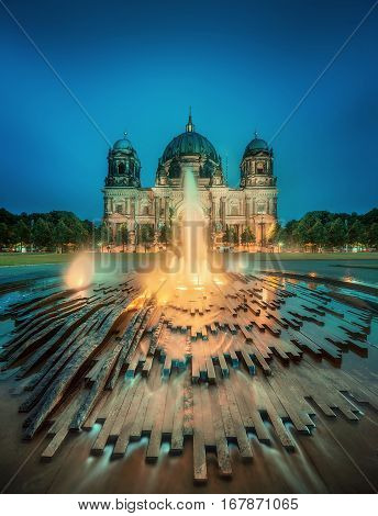 Night view of Berlin Cathedral, Berliner Dom , Germany