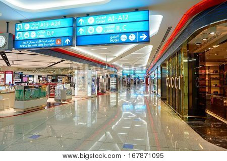 DUBAI, UAE - CIRCA NOVEMBER, 2016: inside Dubai International Airport. It is the primary airport serving Dubai and is the world's busiest airport by international passenger traffic.