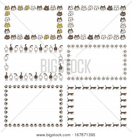 Decorated frames with different type of cats buttock paws and walking cats