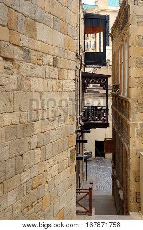 Narrow Street In Old City, Icheri Shehe. Baku