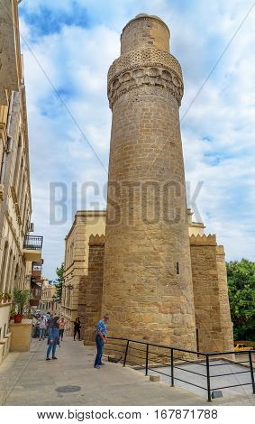 Minaret Of Muhammad Mosque In Old City, Icheri Sheher. Baku
