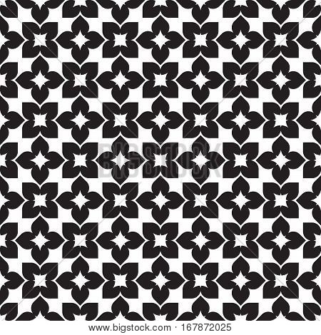 Vector seamless pattern. Modern stylish texture. Repeating geometric tracery. Contemporary graphic design. Black and White Background.
