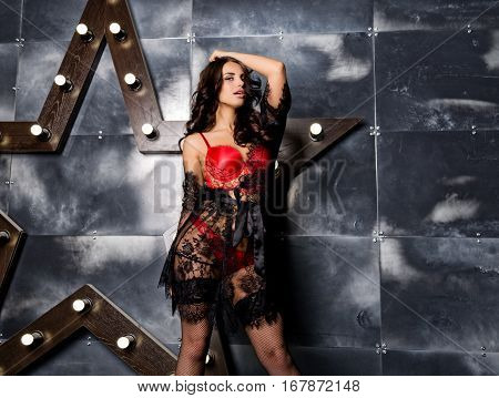 fashion sexy young woman in lacy lingerie and stockings posing on steel background with big star.