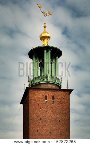 Close-up views of the City Hall's tower (Stadshuset) in Stockholm Sweden