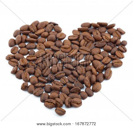 brown roasted coffee, isolated on white background