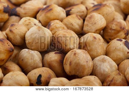 many solid Nuts Isolated on White Background