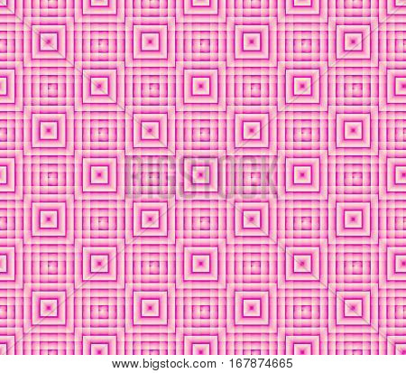 Abstract seamless strips and small squares of pink and white lined in rows to form a continuous pattern