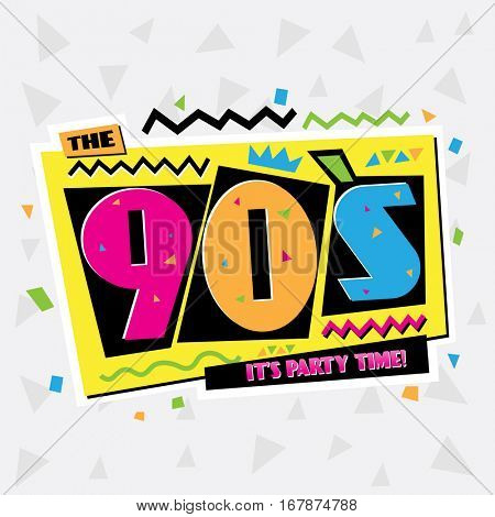 Party time The 90's style label. Vector illustration retro background