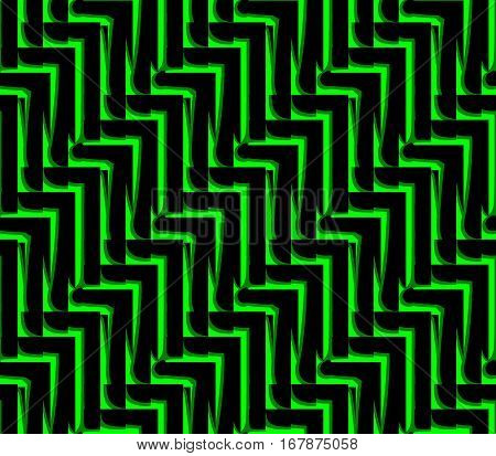 Abstract seamless strip and angles black and green lined in rows to form a continuous pattern