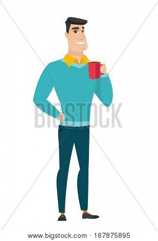 Caucasian smiling businessman holding cup of coffee. Full length of businessman drinking coffee. Happy businessman with cup of coffee. Vector flat design illustration isolated on white background.