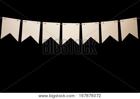 Bunting, Seven White Shapes On String For Banner Message