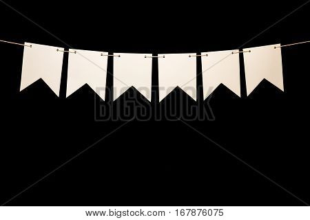 Bunting, Six White Shapes On String For Banner Message