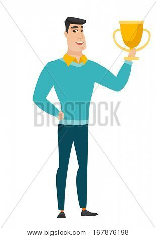 Caucasian business man holding a golden trophy. Full length of young business man with trophy. Happy business man celebrating with trophy. Vector flat design illustration isolated on white background