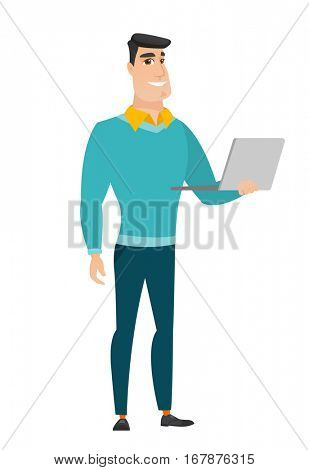 Caucasian business man using laptop. Full length of young smiling business man working on a laptop. Cheerful business man holding laptop. Vector flat design illustration isolated on white background.