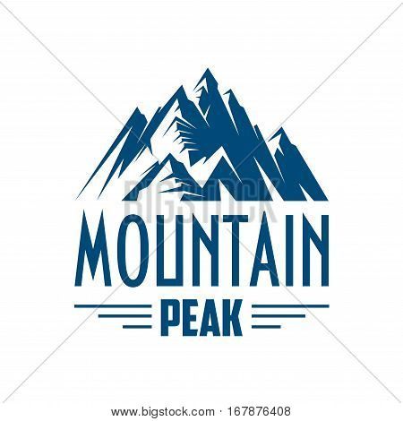 Mountains icon. Vector emblem with mountain peak symbol. Alpine mount or rock hill snowy peaks isolated badge for skiing or snowboarding outdoors sport resort, winter nature tourist camping, or mountaineering trip adventure