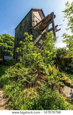 Derelict beam engine at the the disused Dorothea Slate Quarry Nantlle Gwynedd Wales United Kingdom.