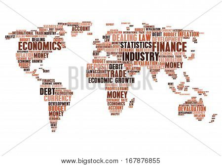 Industry, economics and business cloud tags words. Vector world map of finance currency market, money devaluation exchange rate, budget debit inflation, financial development, trade industry growth, debt account and law summit, deposit or leasing