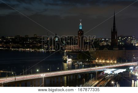 Night views of the old town (Gamla Stan) of Stockholm Sweden