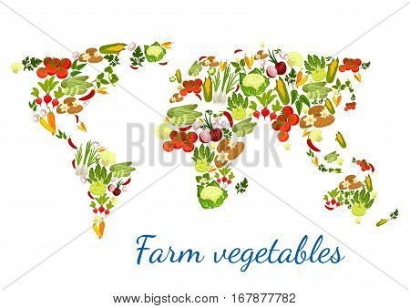 Vegetables and greens in shape of world map. Vector veggies zucchini squash and asparagus, beet and cabbage, organic potato, fresh tomato and cucumber, garlic and eggplant, chili pepper and kohlrabi and cauliflower, onion leek, parsley and basil