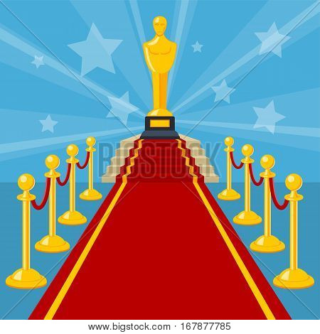 Cinema and Movie concept with flat icons red carpet award, vector illustration