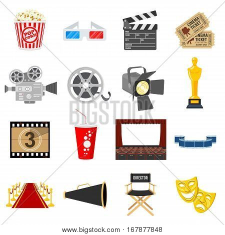 Cinema and Movie Flat Icons Set with popcorn, award, clapperboard, tickets. Isolated vector illustration.
