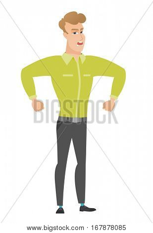 Caucasian angry businessman screaming. Full length of angry businessman clenching fists. Angry businessman shouting with raised fists. Vector flat design illustration isolated on white background.