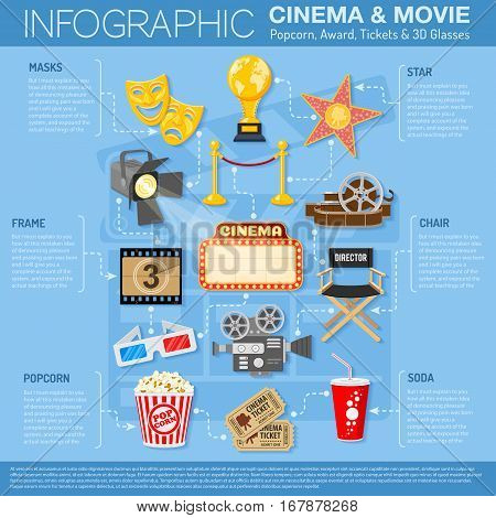 Cinema and Movie infographics with Flat Icons Set popcorn, award, 3D glasses, tickets. vector illustration