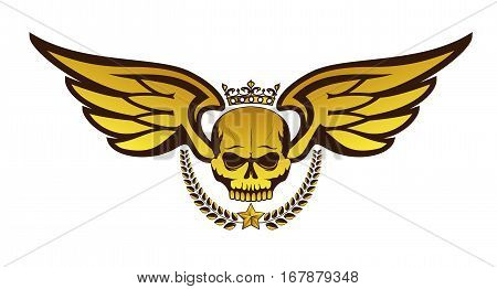 Vector golden tattoo or logo with crowned skull wings laurel wreath. Isolated on white background. Royal design for air force biker or MMA fighter print