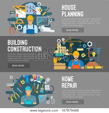 Construction, home repair, house building industry vector flat design banners. Profession workers builder, constructor or engineer. Work tools engineering instruments, development planning. Drill, crane and screwdriver, trowel, timber and concrete