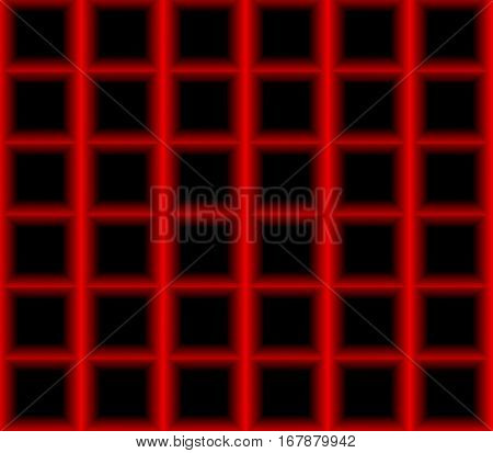 Abstract seamless black background red squares laid out in rows and form a continuous pattern
