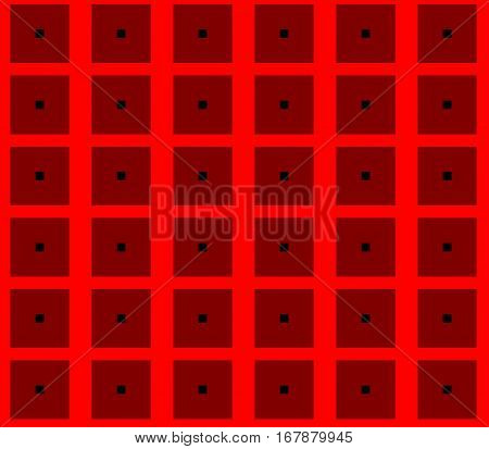 Abstract seamless red background with black squares are laid out in rows and form a continuous pattern