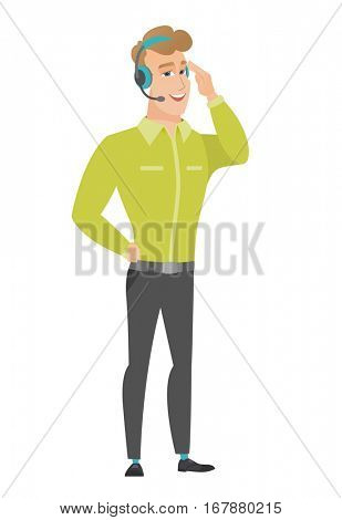 Caucasian customer service operator in headset with microphone. Full length of young customer service operator in headset with microphone. Vector flat design illustration isolated on white background