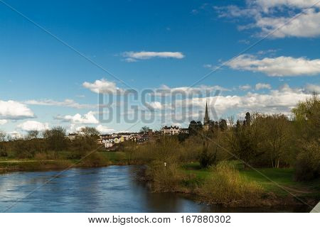 View from Wilton over the River Wye to Ross on Wye and spire of St Marys Church. Herefordshire England United Kingdom.