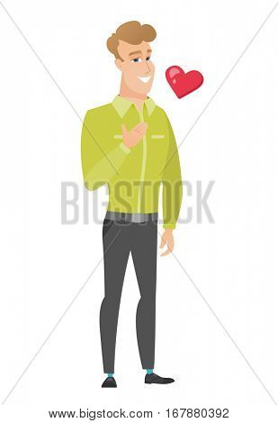 Caucasian business man holding hand on his chest. Full length of young happy business man with hand on his chest and heart flying nearby. Vector flat design illustration isolated on white background
